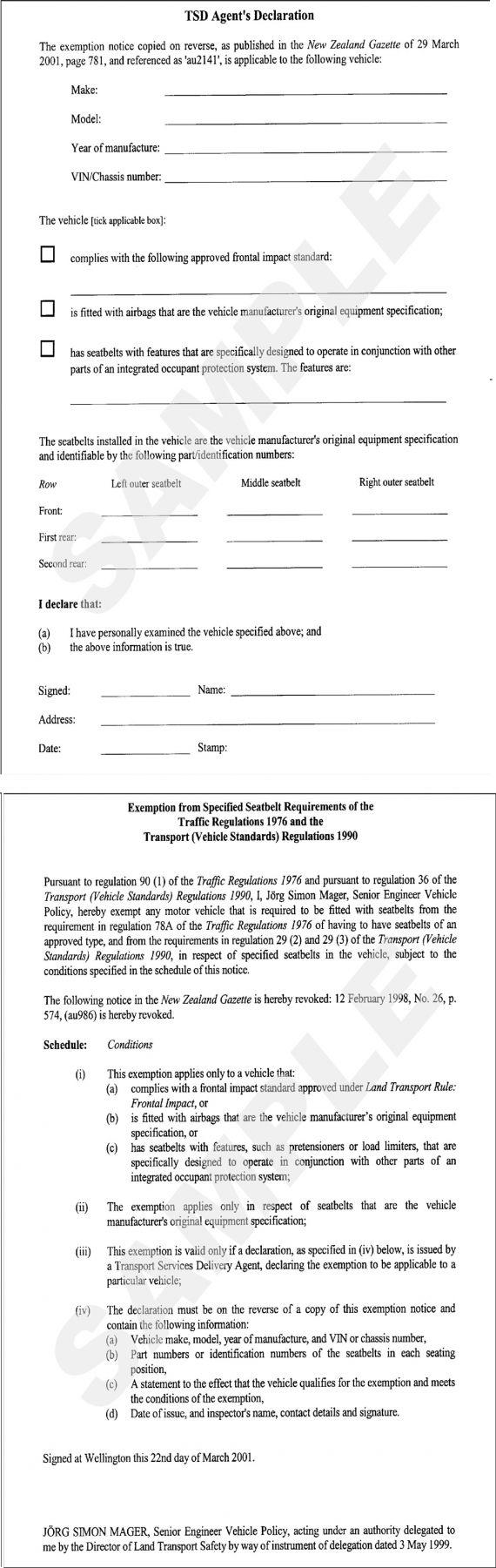 Figure 7-5-3. Example of seatbelt declaration: TSD Agent's Declaration