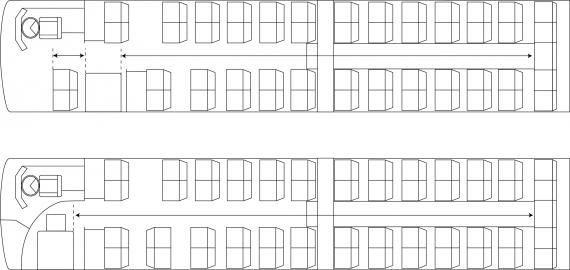Figure 7-4-2. Aisle length measurement – one doorway opening into aisle