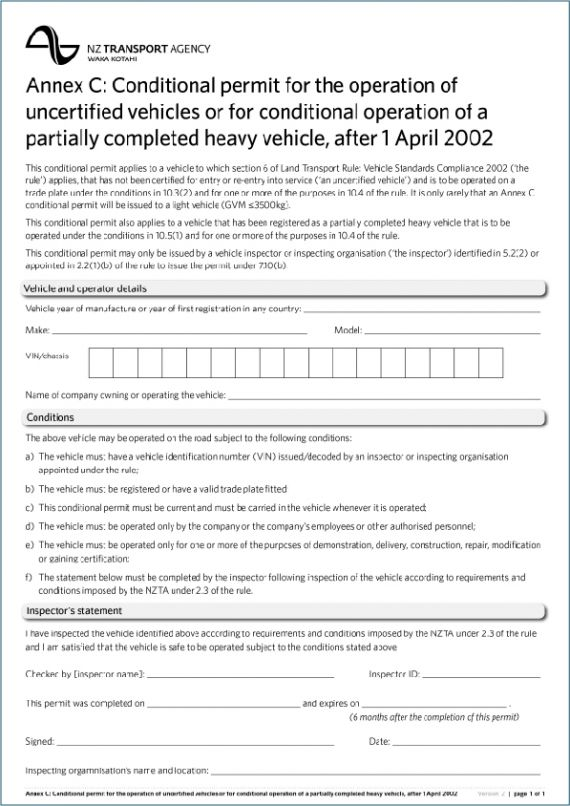 Sample Annex C Conditional Permit Nzta Vehicle Portal