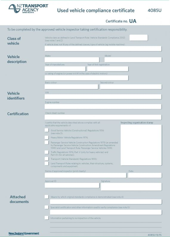 Sample Vehicle Compliance Certificates - Nzta Vehicle Portal