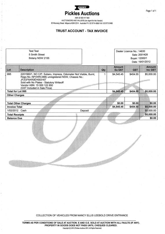 Sample Auction Invoices Nzta Vehicle Portal
